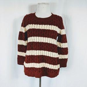 J Crew Striped Rust Red Crew Neck Sweater